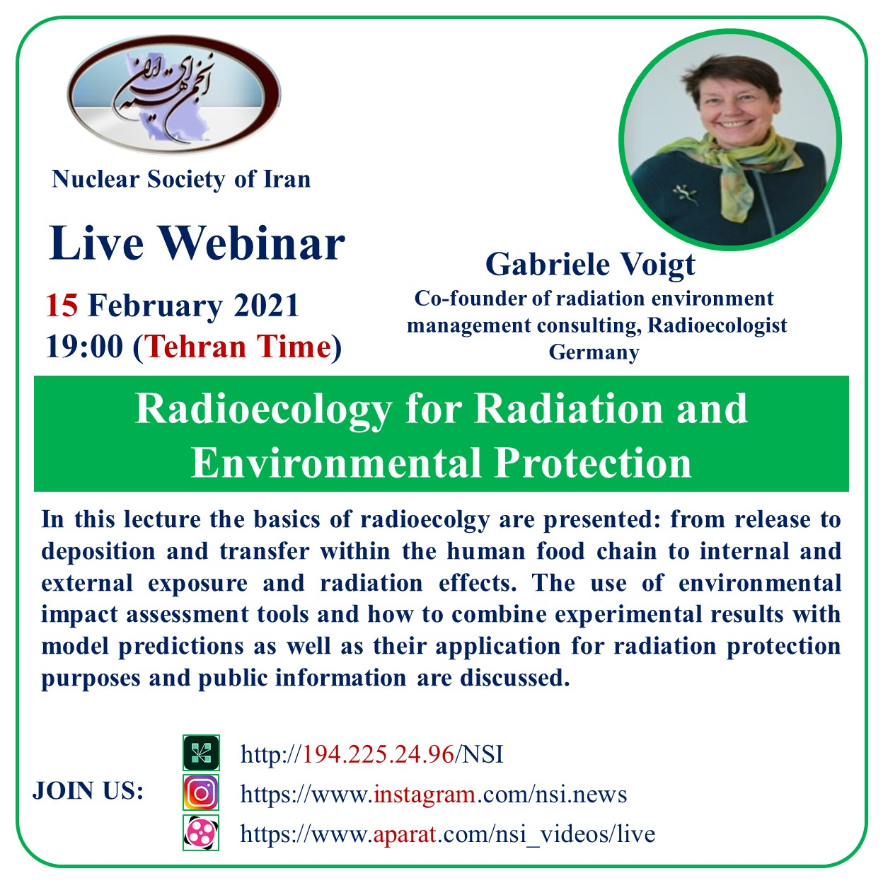 Live webinar(Radioecology for Radation and Environmental Protection)